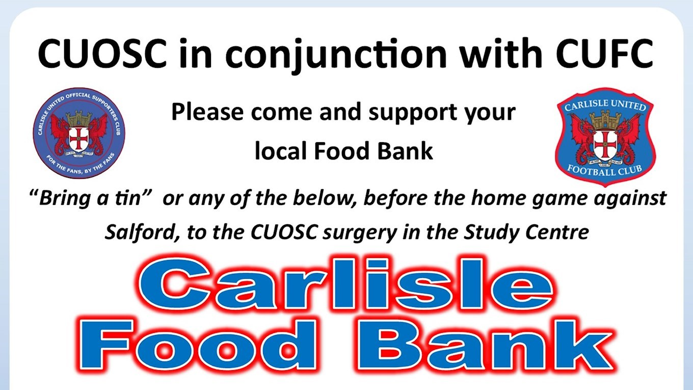 Cuosc Foodbank Collection This Weekend News Carlisle United